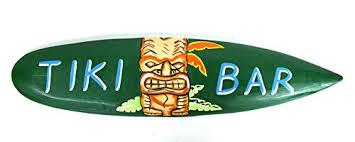 Decorative Surfboard With Shark Bite by Hand Carved Tiki Bar Sign With Polynesian Hawaiian Mask Surfboard