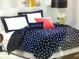 Navy Blue And White Polka Dot forter Set Plus Pink Accent