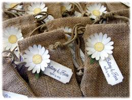 BURLAP WEDDING Or Shower Favor Bags With A Rustic Vintage Daisy And CUSTOM Tag