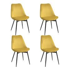 yata home 4 x esszimmerstuhl küchenstuhl skandinavischer samt gepolsterter sitz dicke stühle stabile metallbeine gelb