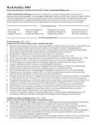 Customer Project Manager Resume Sample Pmp Certified Management