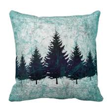 Distressed Rustic Evergreen Pine Trees Forest Throw Pillows