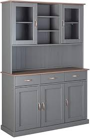 inter link fsc landhausstil buffet vitrine mit 5 türen 3 schubladen massivholz grau sepia braun esszimmer küche 131 x 45 x 191 cm