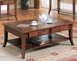 franklin coffee table with slate tile top and storage co700258
