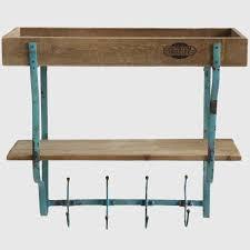 2 Shelves And Hooks Rustic Wall Rack