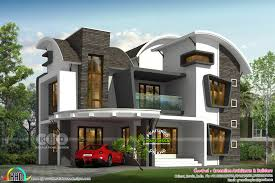 100 Unique House Architecture Curvy Roof 4 Bedroom House Rendering Kerala Home