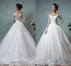 discount 2017 beach vintage long sleeve wedding dresses lace
