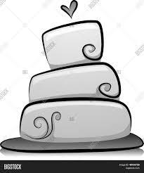 Illustration of Wedding Cake in Black and White