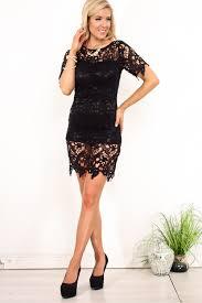 black lace flower cut design short sleeves mid length dress