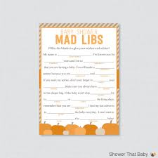 Halloween Mad Libs Pdf by Little Pumpkin Baby Shower Mad Libs Printable Baby Shower