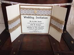 Hessian And Lace Wedding Invitations Uk U Gatefold Invitation