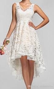 Rustic Wedding 2016 Plus Size High Low Dresses Vintage Lace V Neck Back Garden Bridal Gowns Custom Made Short Beach
