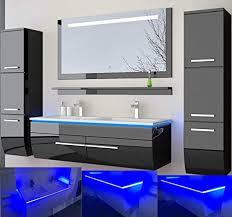 homeline badmöbel set doppelwaschbecken waschbecken spiegel und ablage vormontiert badezimmermöbel led hochglanz lackiert homeline1 schwarz 120 cm 2