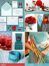 Aqua And Red Wedding Inspirationwedding Colour Palette