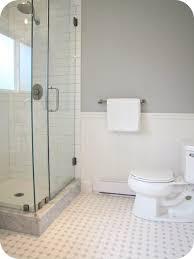 bathroom white subway tile bathroom wood floor home decorations