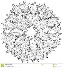 Pattern For Coloring Book Leaves Stock Vector Image Black Pdf Adult