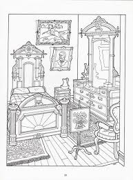 Realistic Bedroom Of Victorian House Detailed Coloring Pages Printable