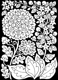 Free Coloring Page Adult Flowers Black Background With