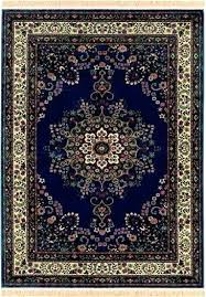 Blue Oriental Rugs Navy Hand Knotted Wool Silk