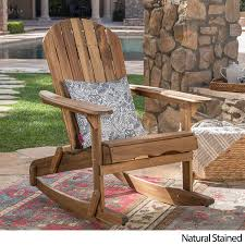100 Rocking Chair With Pouf Great Deal Furniture Muriel Outdoor Dark Grey Finish Acacia Wood