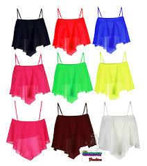 womens chiffon strappy handkerchief crop mesh hanky hem cami