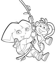 Swinging Boots And Dora Coloring Pages To Print