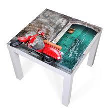 glasplatte ikea lack tisch weiß motiv italienischer roller