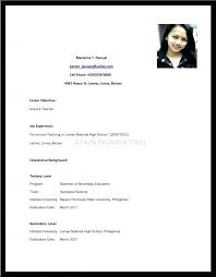 High School Student Resume Sample Philippines