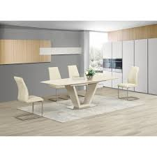 100 White Gloss Extending Dining Table And Chairs Cream Kitchen S 11dzvlspiderwebco