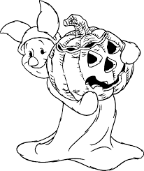 Halloween Coloring Pages For Kids Free Printables Disney Piglet With Pumpkin