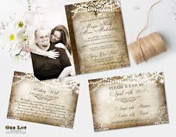 Winter Wedding Invitation Rustic Invite Suite Vintage Old