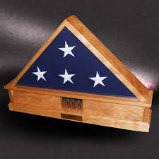 American Made Wood Flag Display Boxes Cherry Case For Memorial With Shell Casings From