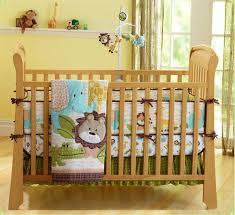 Zoo Elephant Lion Baby Crib Nursery Bedding Set Quilt Bumper Sheet