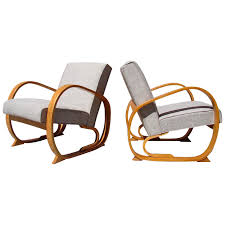 Stunning Pair Of Machine Age Streamline Bentwood Lounge ...