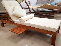 NEW Solid Wood Outdoor Patio Pool Lounger W Sliding Tray Table