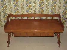 ethan allen royal charter oak william mary leather top davenport