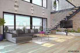 modernes loft mit großen fenster helles wohnzimmer mit