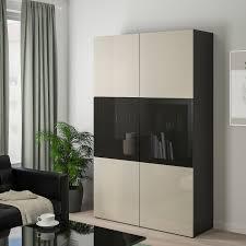 bestå vitrine schwarzbraun selsviken hochglanz beige rauchglas 120x42x193 cm