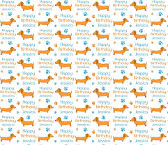 Personalised Birthday Gift Wrap SAUSAGE DOG DACHSHUND Wrapping Paper