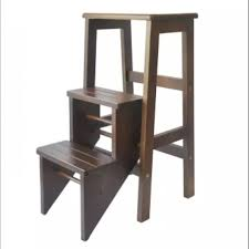 Kitchen Step Stool/Steps Chair Seat Table Wooden Folding (Oak)