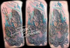 Poseidon God I Tattooed On A Security Guards Ribcage This Guys Tough