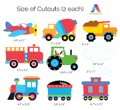 Trains, Planes & Trucks Peel & Stick Kids Wall Decal Cutouts - Art ...