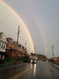 Picture of a double rainbow over Ambridge PA