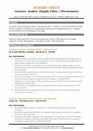 Contract Analyst Supply Chian Procurement Resume Format