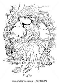 Coloring Page About Betta Fish And Different Shells
