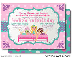 Spa Party Sleep Over Birthday Invitations DI 629FC Harrison