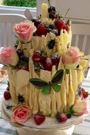 scroll birthday cake decorated by nina with fresh fruits flowers
