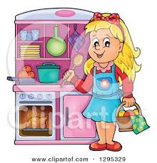 Happy Blond White Girl Playing In A Pretend Kitchen Set Up