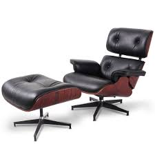 Premium Replica Charles Eames Lounge Chair And Ottoman, Black ... Rosewood Eames Lounge Chair By Herman Miller And Vitra Fniture Black Leather Swivel Replica With Charles Dark Brown White Icf For Vintage Lounge Chair 60s Style Stool Original Model Rare 670 Ottoman 671 Cognac And Polished Sides Black Rosewood Classic Ea670