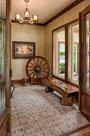 Cowboy Boot Decoration Ideas Entry Rustic With Wagon Wheel Split Log Bench Traditional Door Pull